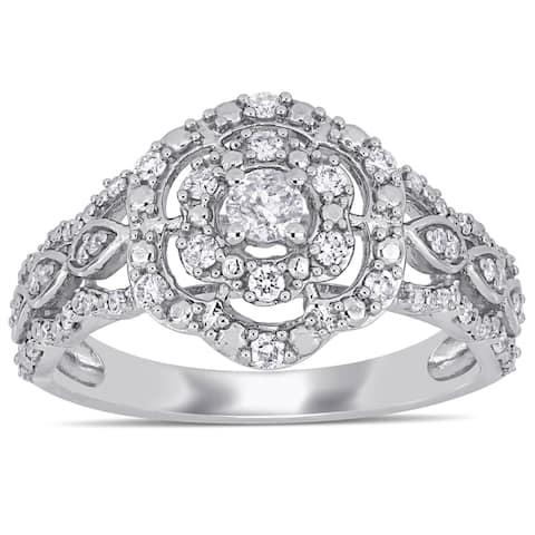 Miadora 10k White Gold 3/8ct TDW Diamond Floral Halo Engagement Ring