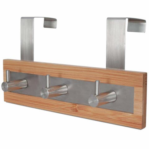 ToiletTree Bamboo Wood & Stainless Steel Over-the-Door 3-Hook Towel Rack