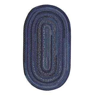 """Capel Rugs Braided Harborview Dark Blue Wool Area Rug - 24"""" x 36"""" oval"""