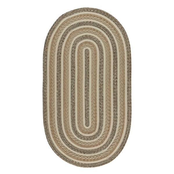 "Capel Rugs Braided Platform Beige Area Rug - 27"" x 9' oval"