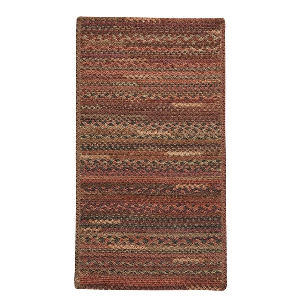 """Capel Rugs Braided Harborview Red Wool Area Rug - 24"""" x 36"""" runner"""