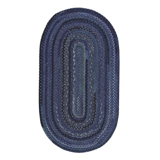 "Capel Rugs Braided Harborview Dark Blue Wool Area Rug - 20"" x 30"" oval"