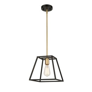 OVE Decors Agnes I 1-Light LED Matt Black & Gold Finish Pendant Light