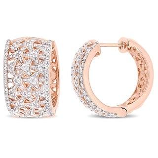Miadora 14k Rose Gold 3/4ct TDW Diamond Interlaced Cluster Huggie Hoop Earrings