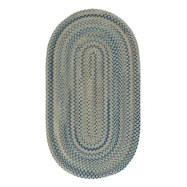"Capel Rugs Braided Melange Blue Beige Wool Area Rug - 2' 3"" x 9' oval"