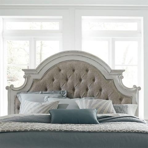 Magnolia Manor Antique White King Upholstered Panel Headboard