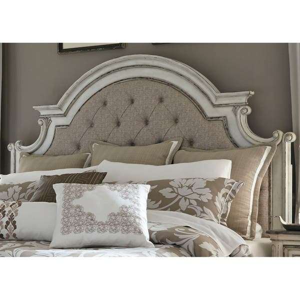Magnolia Manor Antique White King Upholstered Panel