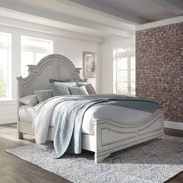 Shop Magnolia Manor Antique White King Panel Bed On Sale