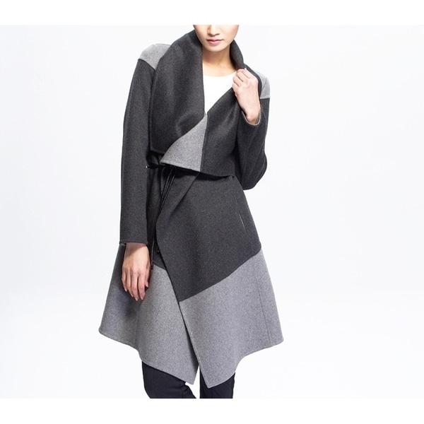 Women's Gray Two Tone Wool Blend Coat with Belt