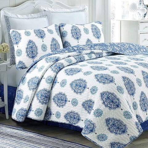 Cozy Line Hittle 3 Piece Cotton Reversible Quilt Set - Blue/White - Blue/White