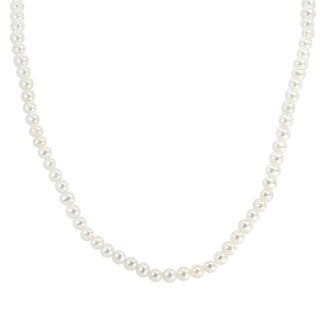 Michael Valitutti Palladium Silver 3.5-4mm White Freshwater Cultured Pearl Bead Necklace