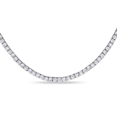 Miadora Sterling Silver 46 1/3ct TGW Cubic Zirconia Tennis Necklace