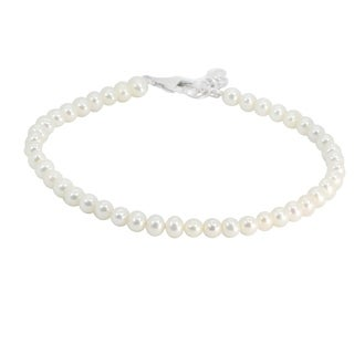 Michael Valitutti Palladium Silver 3.5-4mm Round Bead White Freshwater Cultured Pearl Bracelet