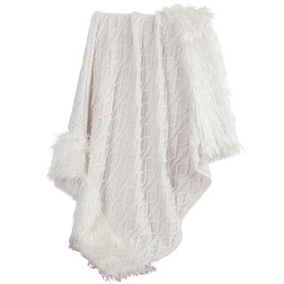 HiEnd Accents Nordic Cable Knit Throw with Faux Mongolian Fur Trim, 50x80 White