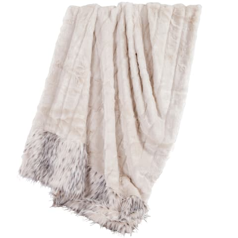 HiEnd Accents Oversized White Faux Mink Throw with Faux Snow Leopard Fur Detail, 50x80 White