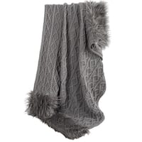 HiEnd Accents  Nordic Cable Knit Throw with Faux Mongolian Fur Trim, 50x80 Grey