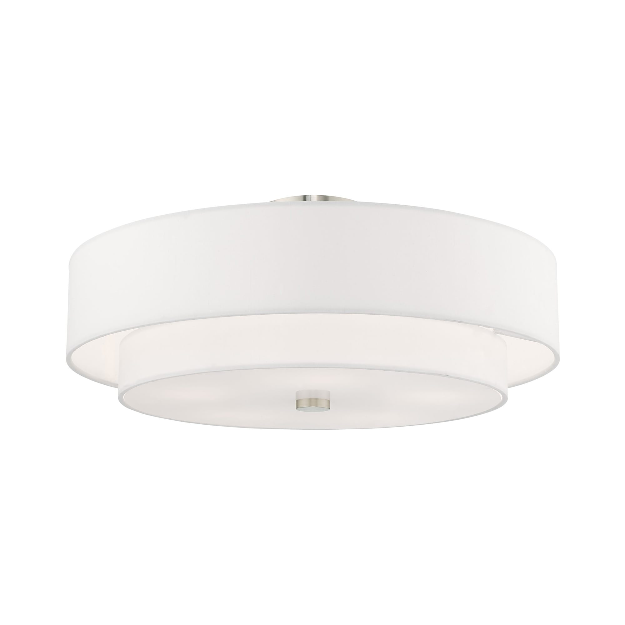 Shop Livex Lighting Meridian 5 Light Double Drum Shade Ceiling Mount 22 Dia X 9 5 H 22 Dia X 9 5 H Overstock 25721873 Brushed Nickel Off White