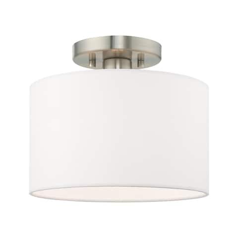 Livex Lighting Clark 1-Light Brushed Nickel Ceiling Mount