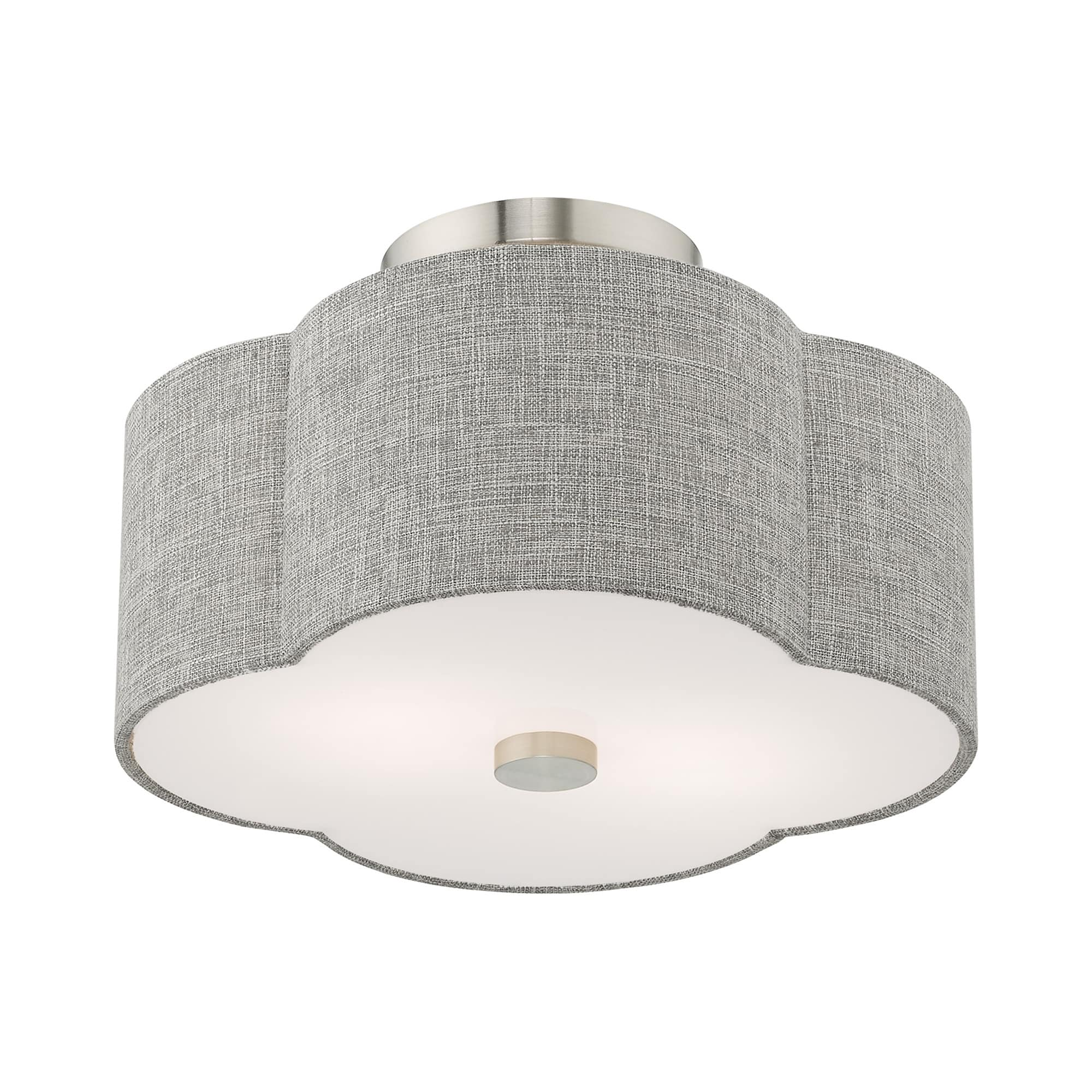 Livex Lighting Kalmar 2 Light Brushed Nickel Ceiling Mount 13 Dia X 8 5 H