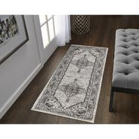 VCNY Home Antonia Grey Medallion Frise Runner - 2' x 6'