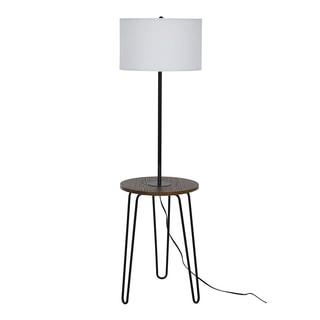 "Catalina Lighting Mid-Century Modern Furniture Floor Lamp w/USB,59"" Black 21284-000"