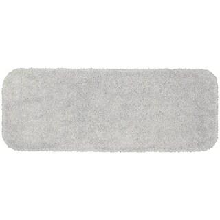 Serendipity Platinum Grey Shaggy Nylon Washable Bath Rug Runner