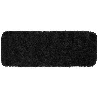 Serendipity Black Shaggy Nylon Washable Bath Rug Runner