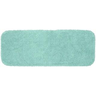 Serendipity Sea Foam Shaggy Nylon Washable Bath Rug Runner