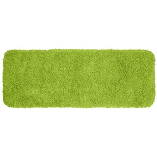 Jazz Lime Green Shaggy Nylon Washable Bath Rug Runner