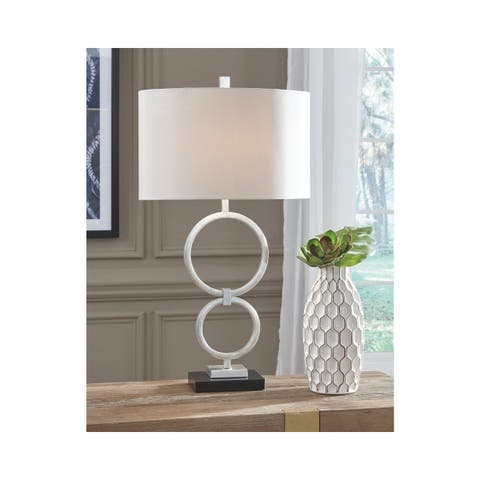 Mansoor 30-in. Silvertone Metal Table Lamps with Cream Shade (Set of 2)