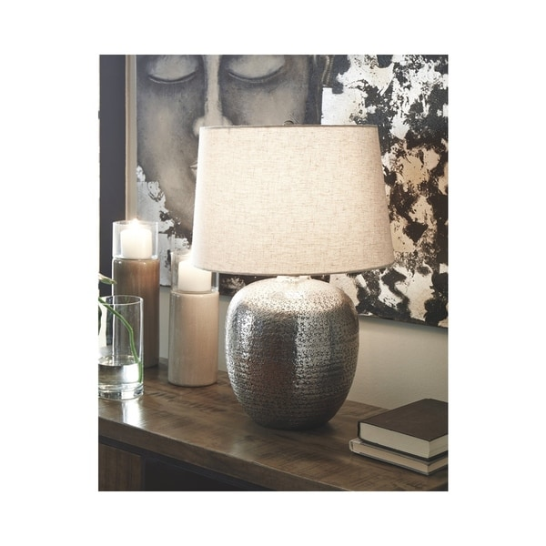 Magalie 23 Inch Metal Table Lamp - Antique Silver Finish. Opens flyout.