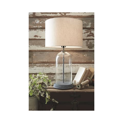 Manelin 29 Inch Glass Table Lamp - Clear/Gray