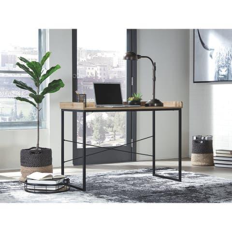 Gerdanet Home Office Desk Light Brown & Black