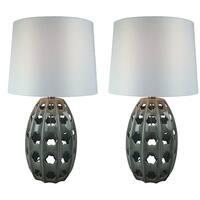 JT Lighting Ceramic Grey Glazed Finish Set of 2