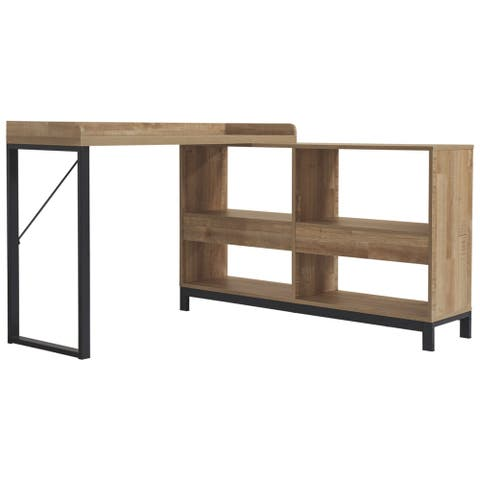 Gerdanet L-Shaped Desk with Storage Light Brown & Black