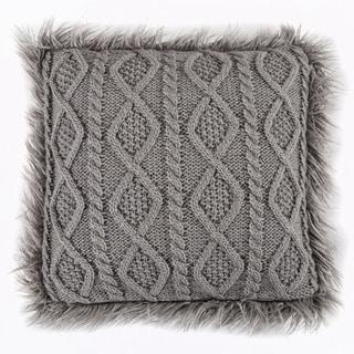 HiEnd Accents Grey Faux Mongolian Fur Trim 18-inch Nordic Cable Knit Pillow