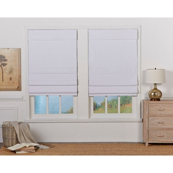 Taylor & Olive Halfway White Insulating Cordless Roman Shade. Opens flyout.