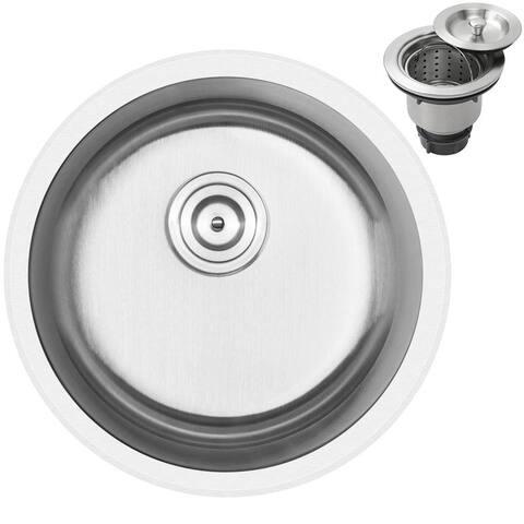 "18 1/4"" Ticor S905 Haven Series 16-Gauge Stainless Steel Undermount/Overmount Single Basin Kitchen and Bar Sink"