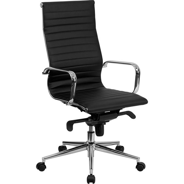 Contemporary High-Back Black Ribbed Leather Executive Adjustable Swivel Office Chair