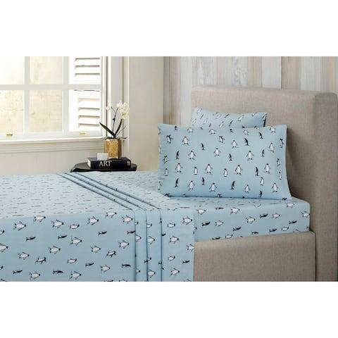 Modernist Flannel Penguin Sheet Set