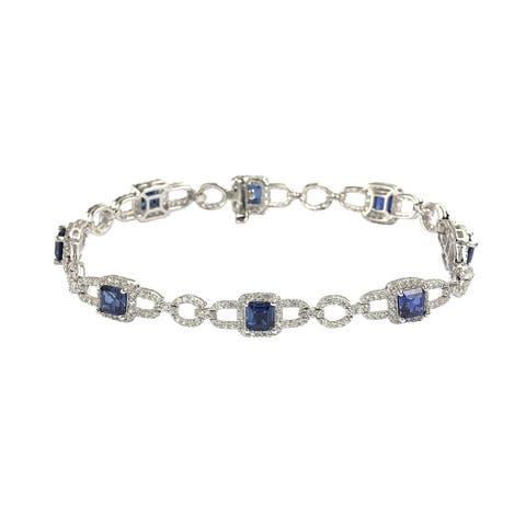 Suzy Levian Sterling Silver Asscher Cut Sapphire & Diamond Accent Tennis Bracelet