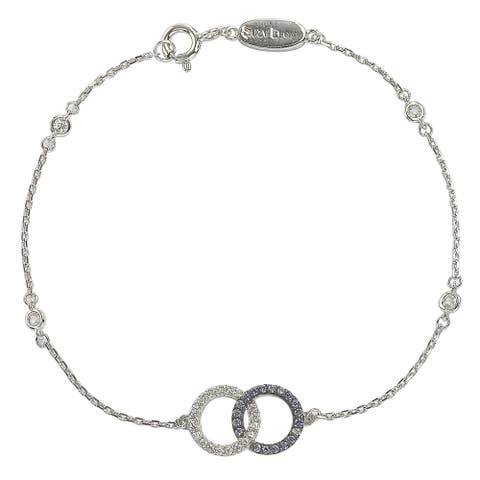 Suzy L. Sterling Silver Sapphire & Diamond Accent Interlocked Circles Station Bracelet