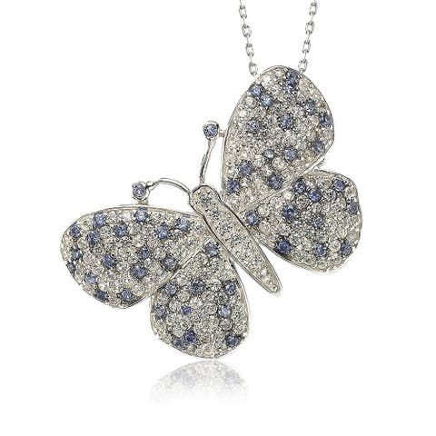 Suzy L. Sterling Silver Sapphire & Diamond Accent Butterfly Pendant Brooch