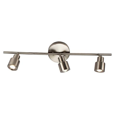 3-Light LED Flush Mount Ceiling and Wall light in Brushed Nickel