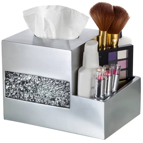 Brushed Nickle Tissue Box Cover Multi-Function Organizer (Silver)