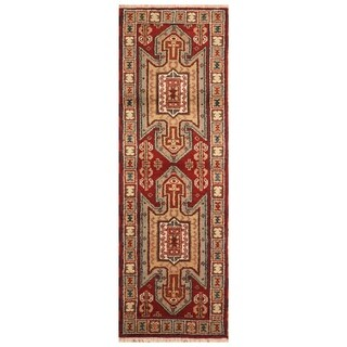 Handmade Kazak Wool Rug (India) - 2'2 x 6'5