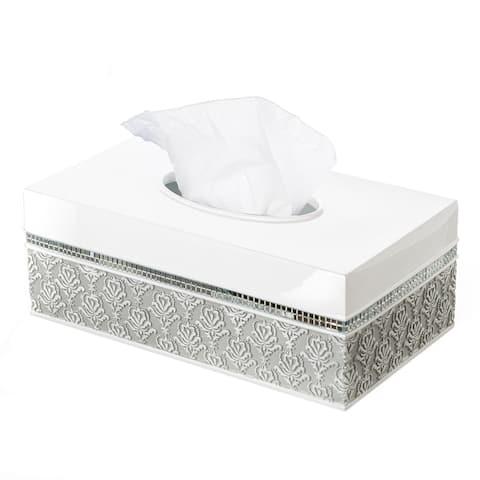 Mirror Damask Rectangle Tissue Box Cover Bottom Slider (Gray & White)