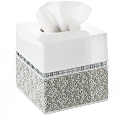 Mirror Damask Square Tissue Box Cover, Bottom Slider (White & Gray)