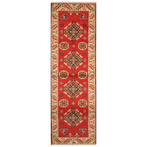 Handmade One-of-a-Kind Kazak Wool Rug (India) - 8' Runner