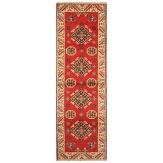 Handmade Kazak Wool Rug (India) - 2'1 x 6'6